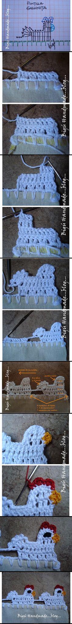barradinha galinha crochet