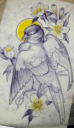 Bird tattoo design.