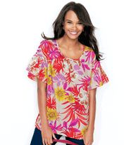 AVON - Swing Printed Top. Bell-sleeved tunic. Polyester crepe de chine. Machine wash and dry. Imported.