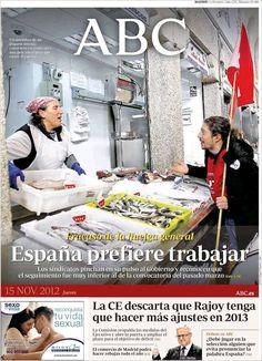 PORTADAS DEL 15 DE NOVIEMBRE 2012: #14N HUELGA GENERAL