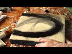 Using oil paint, pastels, and silk fibers to make her encaustic paintings.