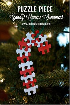 25 Days to an Organized Christmas: DIY Puzzle Piece Candy Cane Ornament Preschool Christmas, Christmas Ornament Crafts, Christmas Art, Christmas Projects, Holiday Crafts, Holiday Fun, Christmas Holidays, Easy Kids Christmas Crafts, Christmas Parties