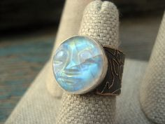 Etsy Transaction - Rainbow Moonstone Ring, Size 6, Carved Face, Lotus Band, Ancient Bronze, Lost Wax Cast, Handmade, Boho