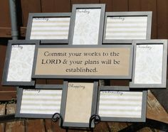 Scripture Wall Art Weekly Organizer and by angelasscriptureart. How beautiful & functional!!! The glad of the frames work as dry erase boards to jot down your appointments, schedules, & reminders of the week. Plus there is also a shopping list area! Stop by this Etsy shop & see all the artwork that is offered!