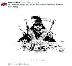 """So reagieren Zeichner aus aller Welt auf den Tod ihrer Kollegen beim Satiremagazin Charlie Hebdo"""": Auch die OÖN gedenken den Opfern. """"Henkersmahlzeit"""", betitelt Günther Mayerhofer die heutige Karikatur. Mehr dazu hier: http://www.nachrichten.at/nachrichten/weltspiegel/Charlie-Hebdo-als-Zeitschrift-der-Ueberlebenden;art17,1598439 (Bild: Günther Mayerhofer)"""