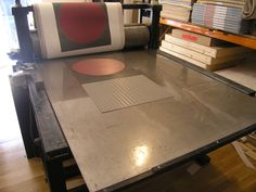 From the archives: A Patrick Scott print on the press.
