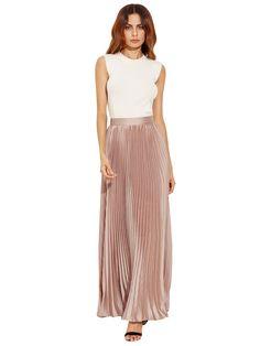 Light Khaki Zipper Side Pleated Flare Maxi Skirt -SheIn(Sheinside)