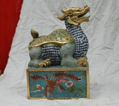 Chinese Old bronze statue Gild Cloisonne Fu Dog Dragon Turtle Imperial jade seal