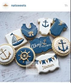 Baby cookies, baby shower cookies, cookies for kids, sugar cookies, s Baby Boy Cookies, Baby Shower Cookies, No Bake Sugar Cookies, Royal Icing Cookies, Dim Sum, Anchor Cookies, Sailor Baby, Shower Cakes, Shower Favors