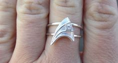Sterling Silver #StarTrek Engagement Ring with White by VaLaJewellery, $500.00