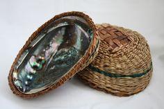 Cedar Bark Hats for Sale | Cedar bark & NW sweetgrass covered abalone shell