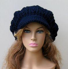 Navy blue Cap Visor Tam Hat Hippie Slouchy by PurpleSageDesignz
