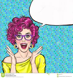 Surprised Young Woman In Glasses Shouting Or Yelling. Advertising Poster. Comic Woman. Gossip Girl, - Download From Over 62 Million High Quality Stock Photos, Images, Vectors. Sign up for FREE today. Image: 68910775