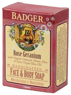 Badger Rose Geranium Face & Body Soap! A lovely product! Find this and other Badger goodies at EarthTurns.com!  #natural #badgerbalm #organic