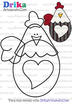 a chicken with big heart Applique Templates, Applique Patterns, Applique Quilts, Applique Designs, Embroidery Applique, Hand Quilting Patterns, Felt Patterns, Sewing Patterns, Sewing Crafts