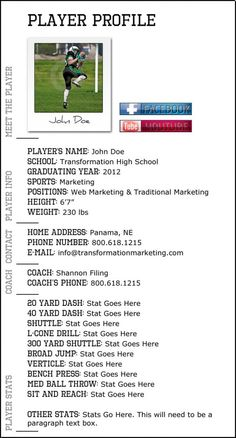 Player profile bio that we put together for a sports trainer. #design www.transformationmarketing.com