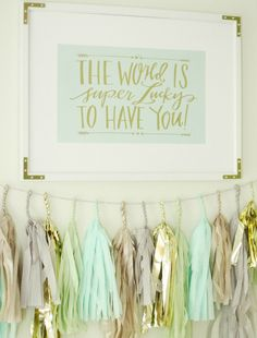 We love the Mint Julep Tassel Garland from #PNshop paired with this sweet print from @HobbyLobby.