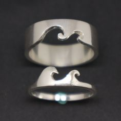 Cute Promise Rings, Matching Promise Rings, Promise Rings For Couples, Matching Rings, Matching Jewelry For Couples, Promise Ring Sets, Wave Jewelry, Jewelry Rings, Gold Jewellery