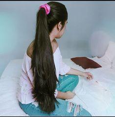 Ponytail Scrunchie, Long Hair Ponytail, Ponytail Hairstyles, Wavy Hair, Long Indian Hair, My House Plans, Asian Hair, Beautiful Long Hair, Layered Cuts