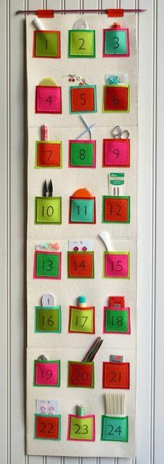 Naai 24 kleine vierkantjes op een lap, klaar is je adventkalender
