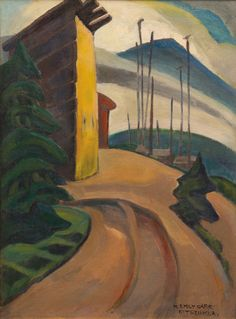 """""""Kitseukla,"""" Emily Carr, oil on canvas, The Sobey Art Foundation. Canadian Painters, Canadian Artists, New Artists, Tom Thomson, Emily Carr Paintings, Costa, Group Of Seven, Impressionist Paintings, Aboriginal Art"""