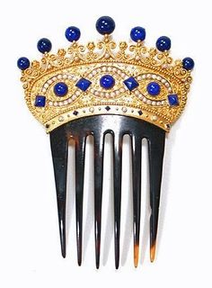 This beautiful 18K-gold, pearl, and lapis Victorian crown-shaped tiara on a tortoiseshell comb is a magnificent example of period artwork, c.1850. -