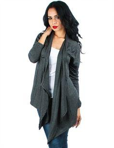 Dark Gray Draped Cardigan (plus size) at My Fashion Wear! www.myfashionwear.com