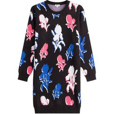 Kenzo Printed Sweater Dress featuring polyvore, women's fashion, clothing, dresses, sweaters, multicolored, multi-color dresses, sweater dresses, colorful dresses, slimming dresses and colorful floral dress