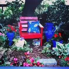 BLUE ANGEL GARDEN DESIGN ( chair & pots painted by Blue Angel )