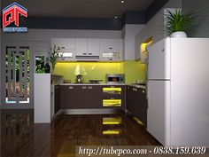 Tủ bếp thiết kế linh động phù hợp với căn hộ của các gia đình nhỏ TBX089
