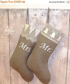 This shabby chic handmade Christmas stocking is fully lined and hanging is made from linen ribbon.  This adorable Stocking is embellished with