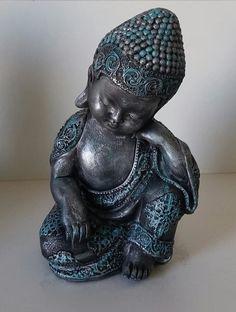 Trio de Budas criança em gesso, decorado e pintado!  Buda Serenidade com A25xC14xL11  Buda Meditação com A26,5xC14XL11  Buda Energia com A25xC14xL11