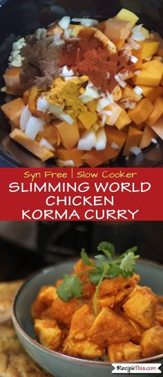 Syn Free Slimming World Chicken Korma Curry cooked on slow in the slow cooker. Enjoy Britain's favourite Chicken Korma Curry without any syns in a creamy… Slimming World Korma, Slimming World Chicken Korma, Slow Cooker Slimming World, Slimming World Dinners, Slimming World Recipes, Slimming World Lunch Ideas, Slimming World Breakfast, Laura Lee, Slow Cooker Recipes