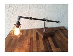Edison Trouble Light Desk Lamp, Metal Pipe, Reclaimed Wood Base - BULB INCLUDED / Vintage Industrial Lamp / Steampunk Light / Table Lamp