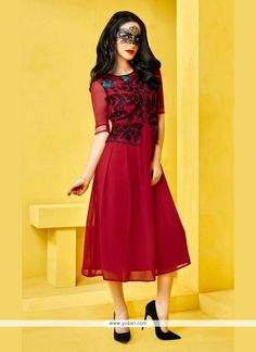 Lordly Embroidered Work Red Georgette Designer Kurti Model: YOKU278