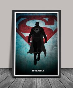 Superman Poster.Superheroes Minimalist .Superman Superhero poster, Heroes Illustrations, Wall art, Artwork, Comic poster, Gift, Home Decor.