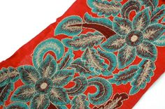 Bright Red with Teal and Burgundy Ornate by WomanShopsWorld, $17.50