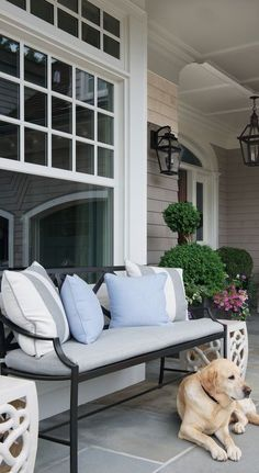 A lovely bench and pillows welcome guests to visit for awhile and enjoy the beachy atmosphere. Coordinating pillows and cushions add curb appeal.  #CurbAppealContest