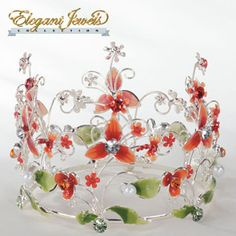 Red Floral Crown cake topper for Quinceanera, Mis Quince Anos! Visit specialoccasionsforless.com for fabulous accessories for all occasions!