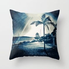 Tropical blue pillow cover, vintage style, palm beach, palm tree, blues, canvas or velveteen, 18 x 18 or 22 x 22 by PillowsChrissyInk on Etsy https://www.etsy.com/au/listing/398007087/tropical-blue-pillow-cover-vintage-style