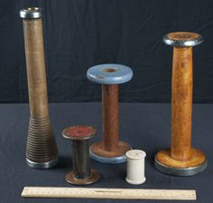 Vintage tall wooden spools 12