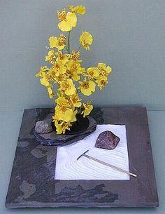 Zen garden w/ orchids using frog