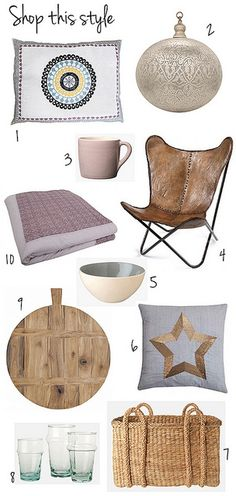 1. Boheme pillow in square and retangular, 2. Egyptian copper pendant, 3. handmade ceramic mug, 4. leather butterfly chair, 5. handmade ceramic bowl, 6. silk cushion with sequin star, 7. hyacinth storage basket, 8. hand blown glasses made from recycled glass, 9. bread board made from teak wood, 10. lavender colored quilt / bedspread.