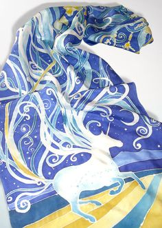 Silk scarf UNICORN silk scarves running horse hand painted Habotai - blue turquoise and gold scarf