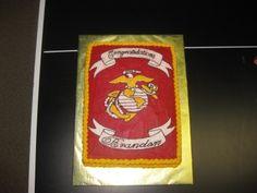 Welcome Home Us Marine Cake A welcome home celebration cake for a newly graduated US Marine! Military Cake, Military Party, Marine Cake, Marine Mom, Retirement Cakes, Retirement Parties, Welcome Home Cakes, Eagle Scout Cake, Tropical Cupcakes