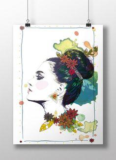Affiche A3 décoration - Illustration - Ethnique chic - poster à encadrer  : Affiches, illustrations, posters par lorene-illustration