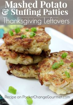 Mashed Potato & Stuffing Patties with Thanksgiving Leftovers Thanksgiving Leftover Recipes, Leftover Turkey Recipes, Thanksgiving Leftovers, Leftovers Recipes, Holiday Recipes, Dinner Recipes, Thanksgiving Appetizers, Appetizer Recipes, Turkey Leftovers