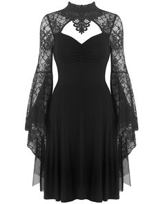 Dark In Love Gothic Dress Black Lace Mesh Long Witch Sleeve Steampunk Vampire Lace Dress Black, Black Witch Dress, Black Gothic Dress, Black Dress With Sleeves, Black Corset, Vampire Dress, Vampire Outfits, Vampire Look, Skirt Fashion