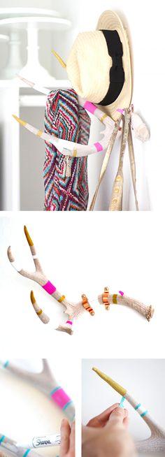 DIY Antler coat rack