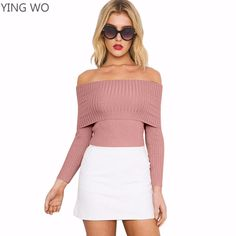 20b67cdc1a ... Black Pink Wine Sexy Off The Shoulder Slash Neck Long Sleeve Knitting  Tops Elegant Woman Streetwear Sweety Spring Fashion Tops from Reliable T- Shirts ...
